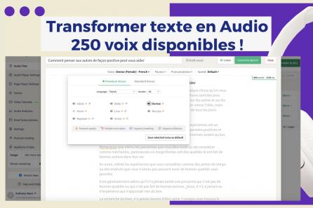 Transformer automatiquement n'importe quel texte en AUDIO ! vidéos, podcasts…