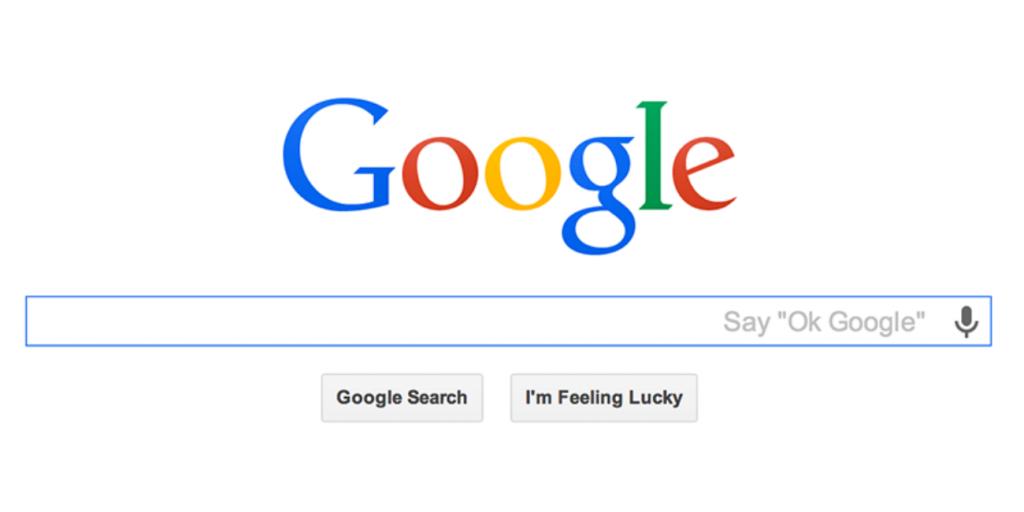 La barre de recherche sur la page d'accueil de Google