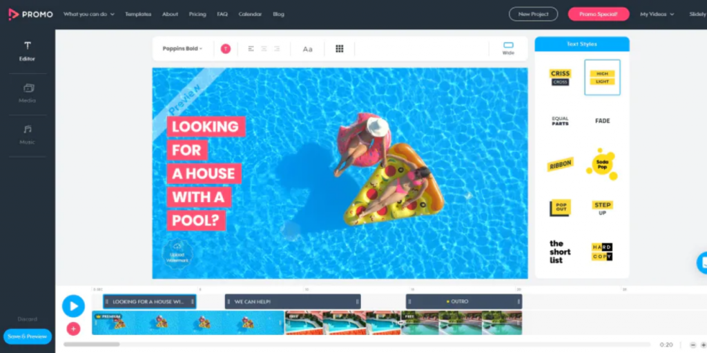 promo.com logiciel de montage vidéo marketing